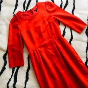 J Crew Red Wool Blend 3/4 Sleeve Scoop Neck Dress